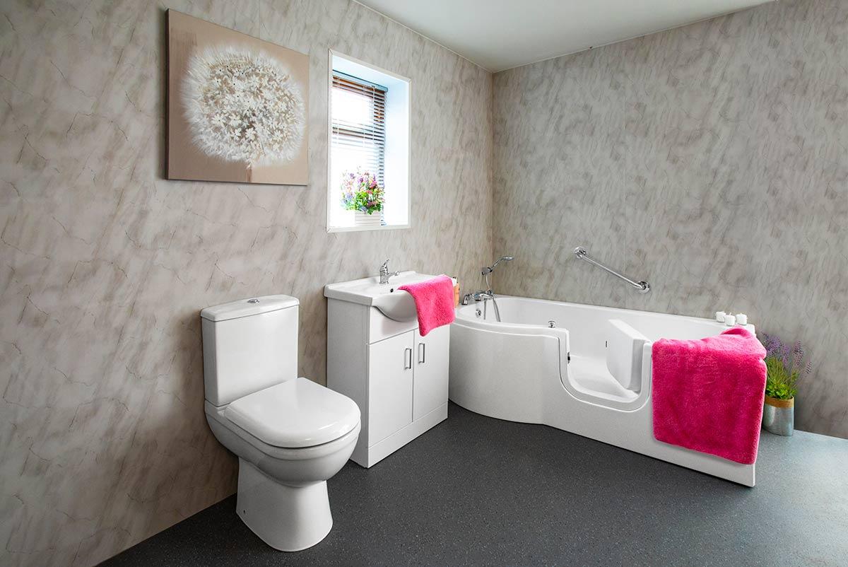 Bathtub with Door and Towel